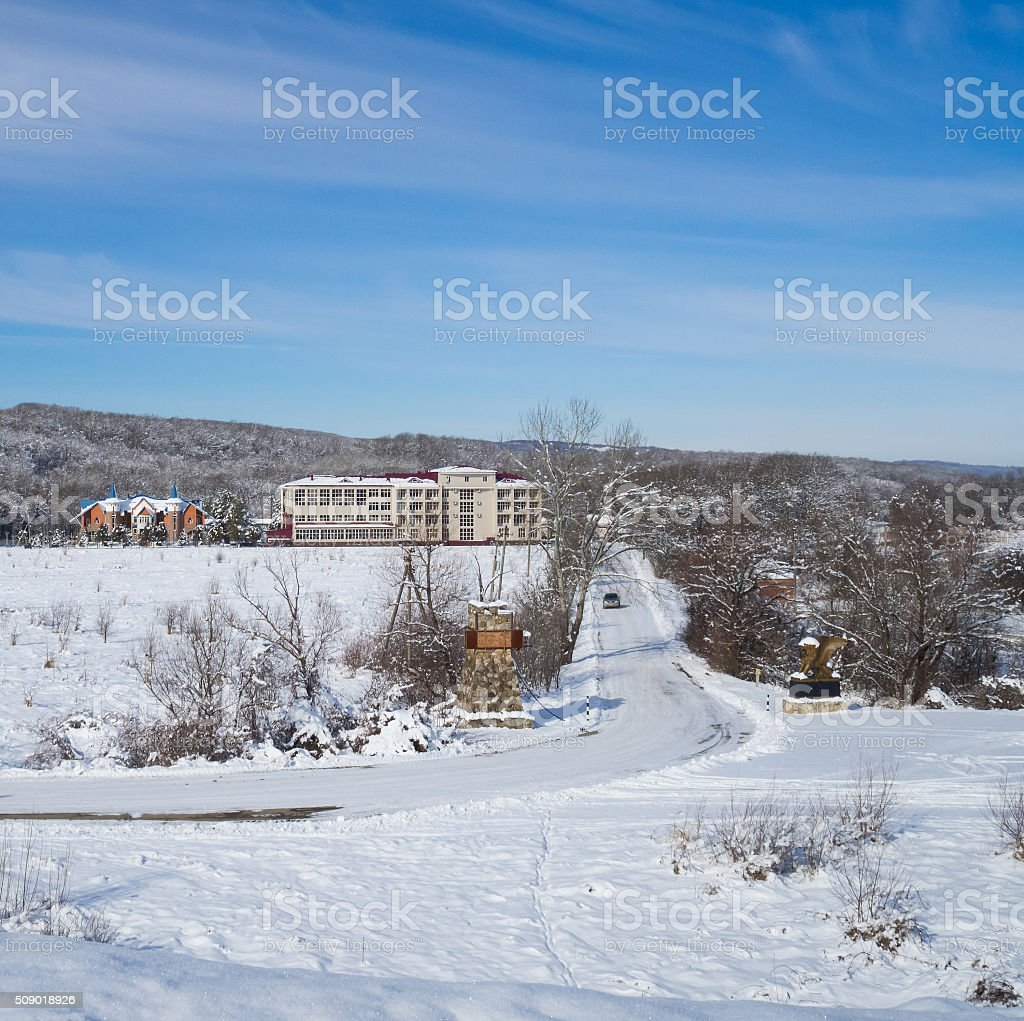 Winter view of the hotel in the mountains. stock photo