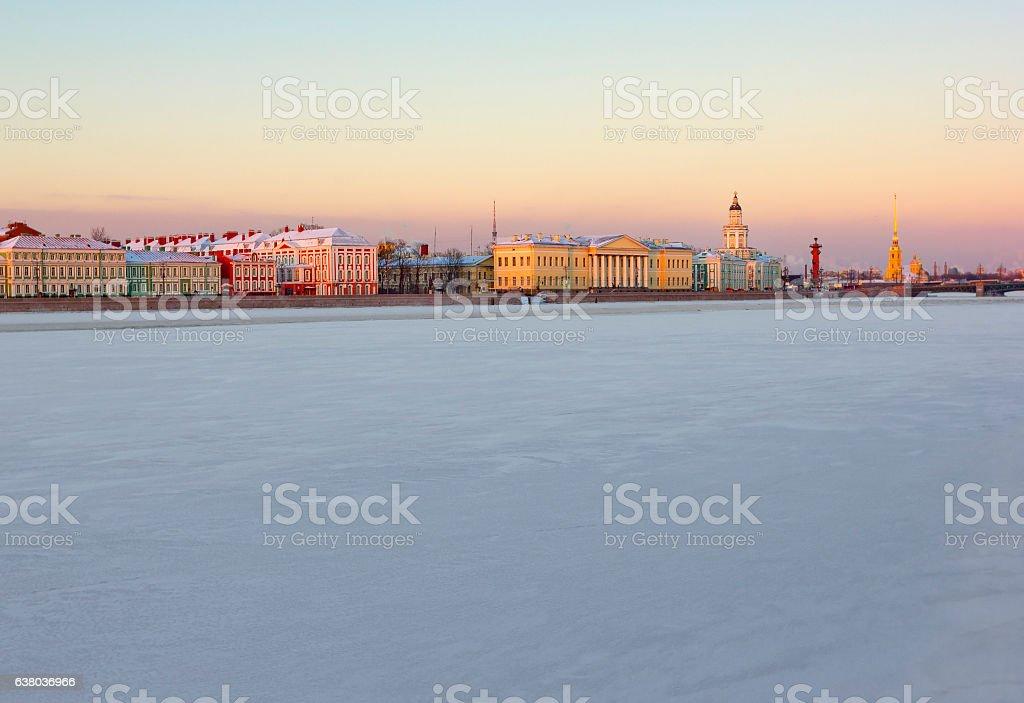 Winter view of Vasilievsky Island across Neva, St. Petersburg, Russia stock photo