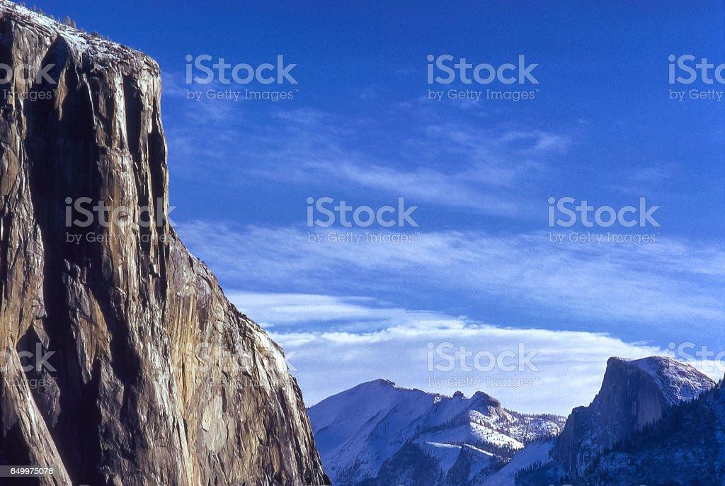 Winter View of Yosemite Valley stock photo
