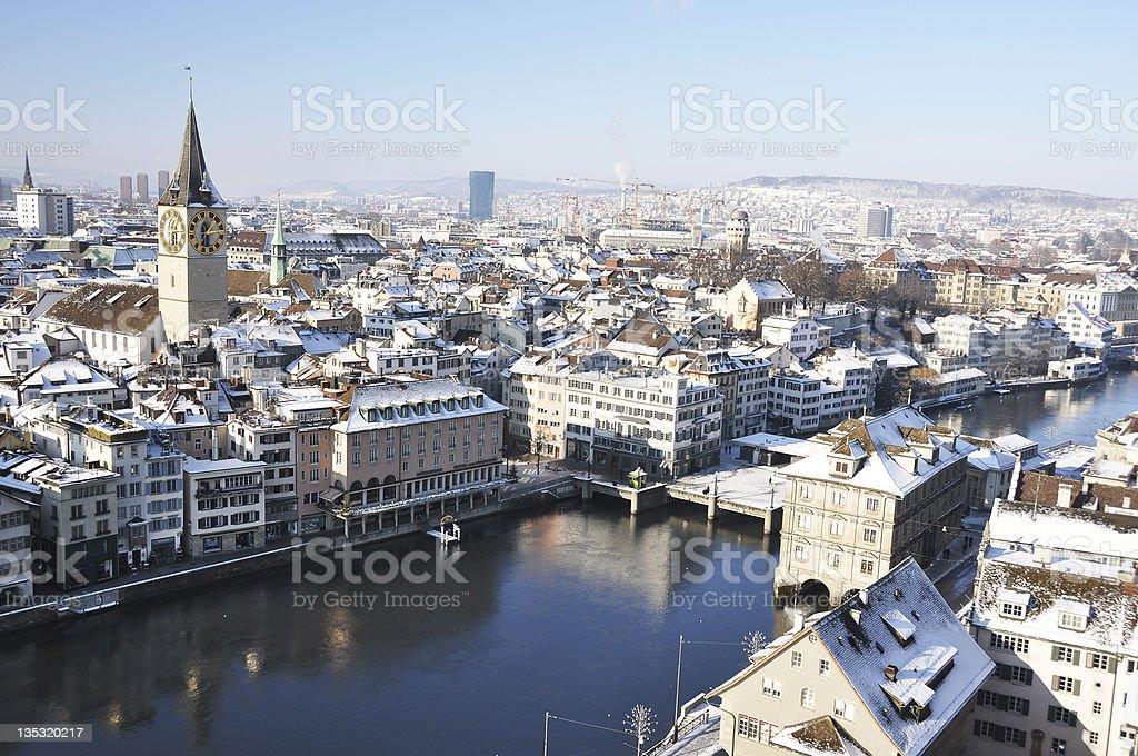 Winter view of Zurich stock photo