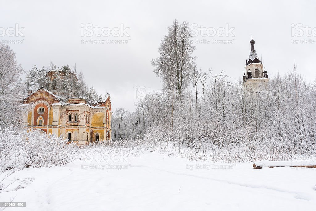 Winter view on Trinity Cathedral and belfry with snowdrift before stock photo