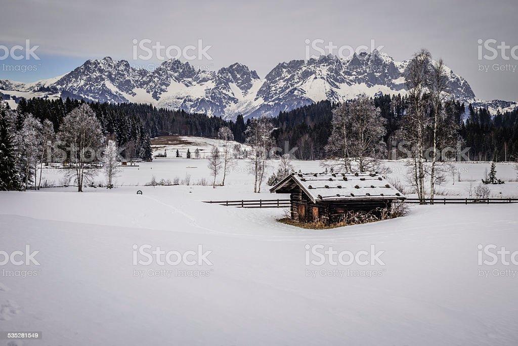 Winter view Schwarzsee and Wilder Kaiser stock photo