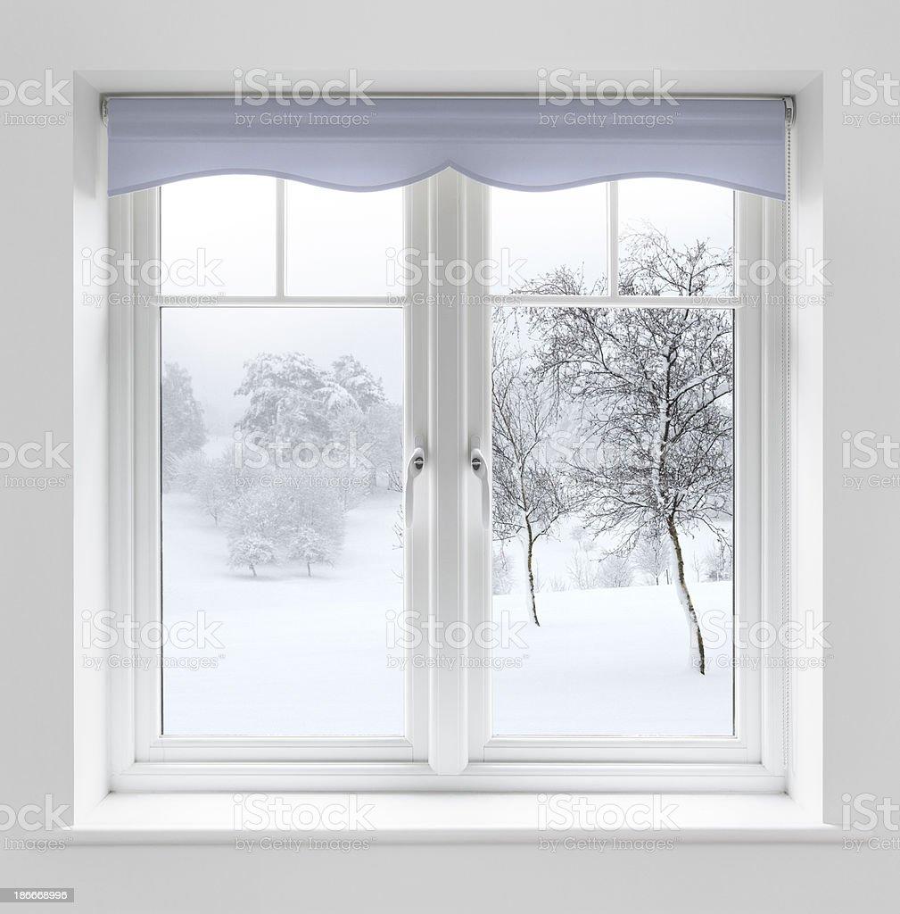 Winter view through white windows stock photo