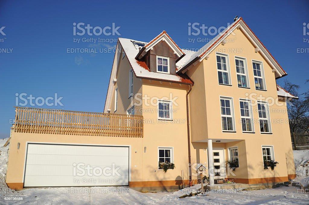winter villa with garage stock photo