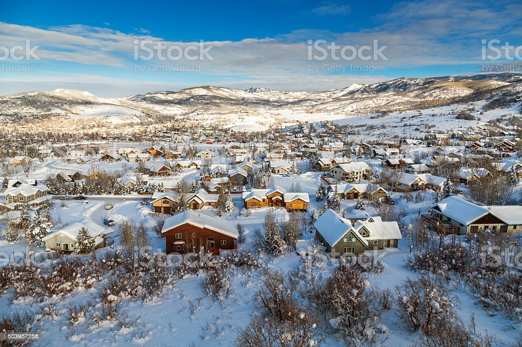 Winter village from midair stock photo