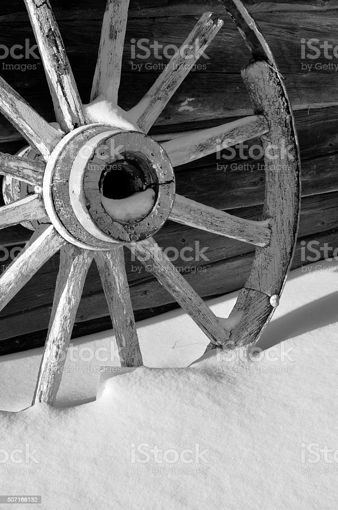 Winter Wagon Wheel stock photo