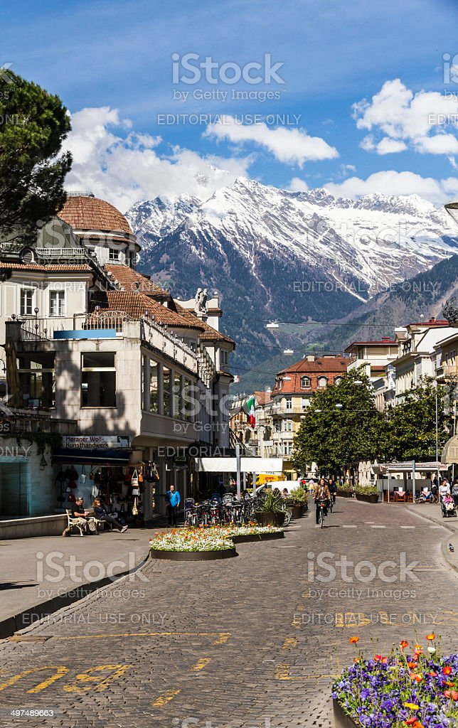 Passeggiata d'Inverno Street - Merano (Italy) royalty-free stock photo