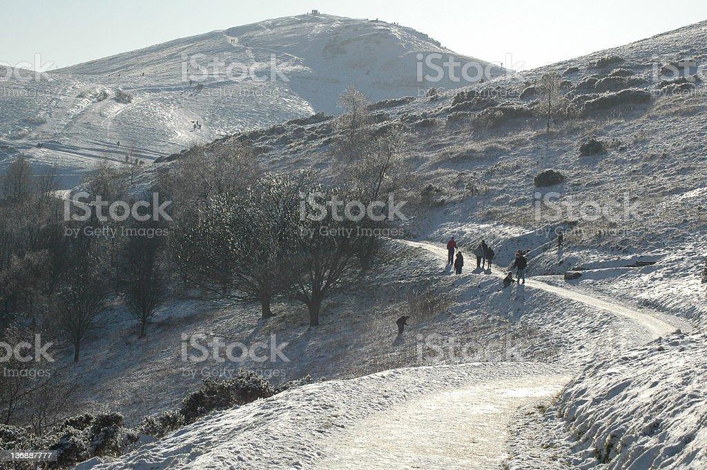 Winter Walkers on the Malvern Hills stock photo