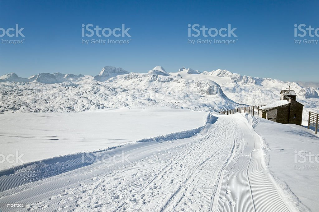 Winter walkway in the Dachstein Mountains royalty-free stock photo