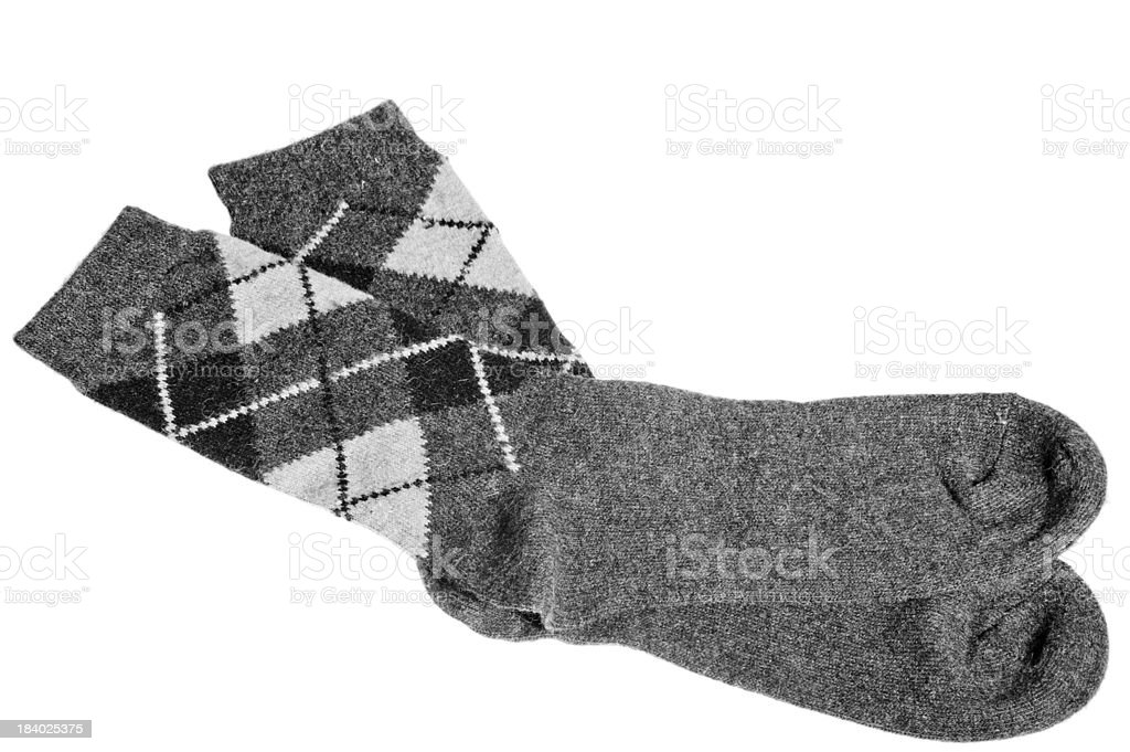 winter warm socks with a pattern of gray stock photo