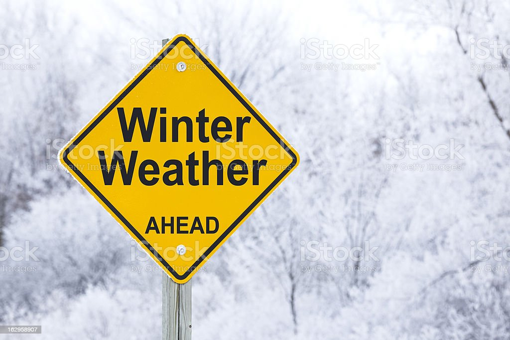 Winter Weather Ahead Road Sign stock photo