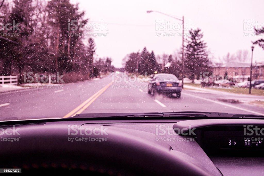 Winter Weather Rain Storm Car Driver POV Through Windshield stock photo