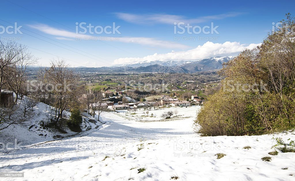 Winter wide panorama stock photo