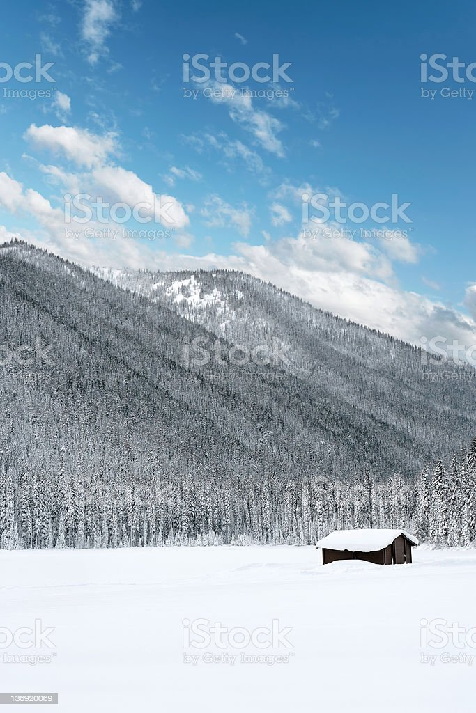 XXL winter wilderness cabin royalty-free stock photo