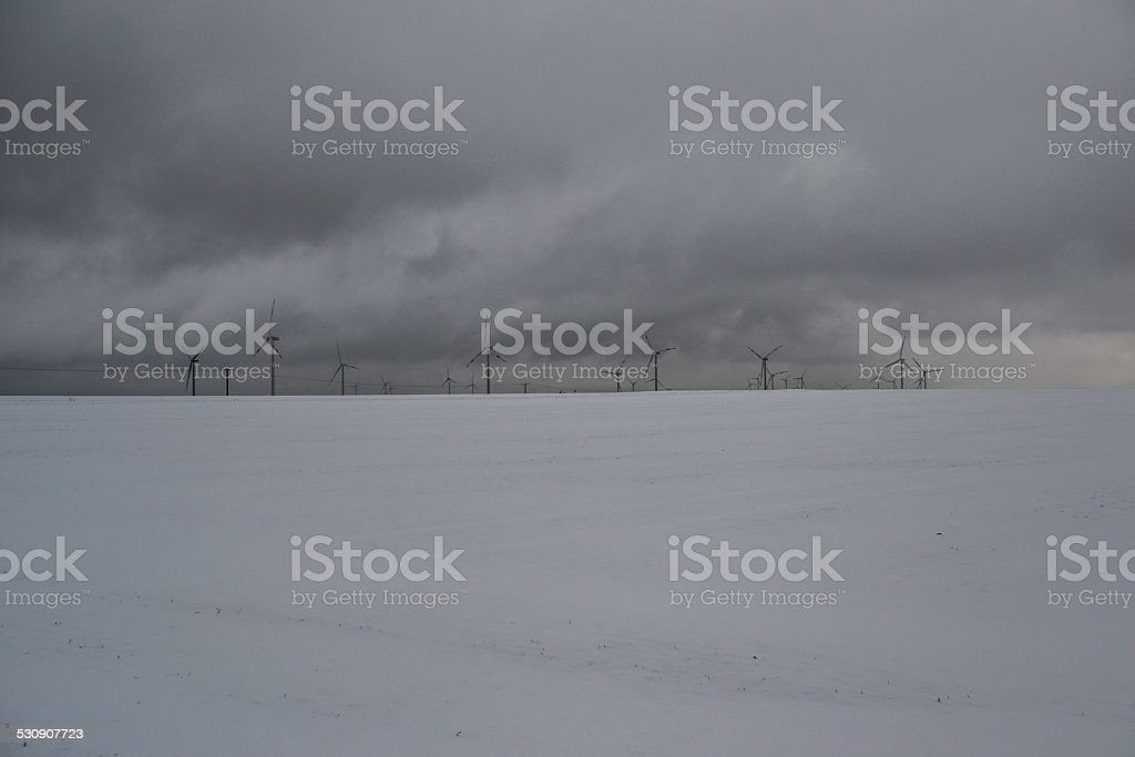 Winter wind farm stock photo