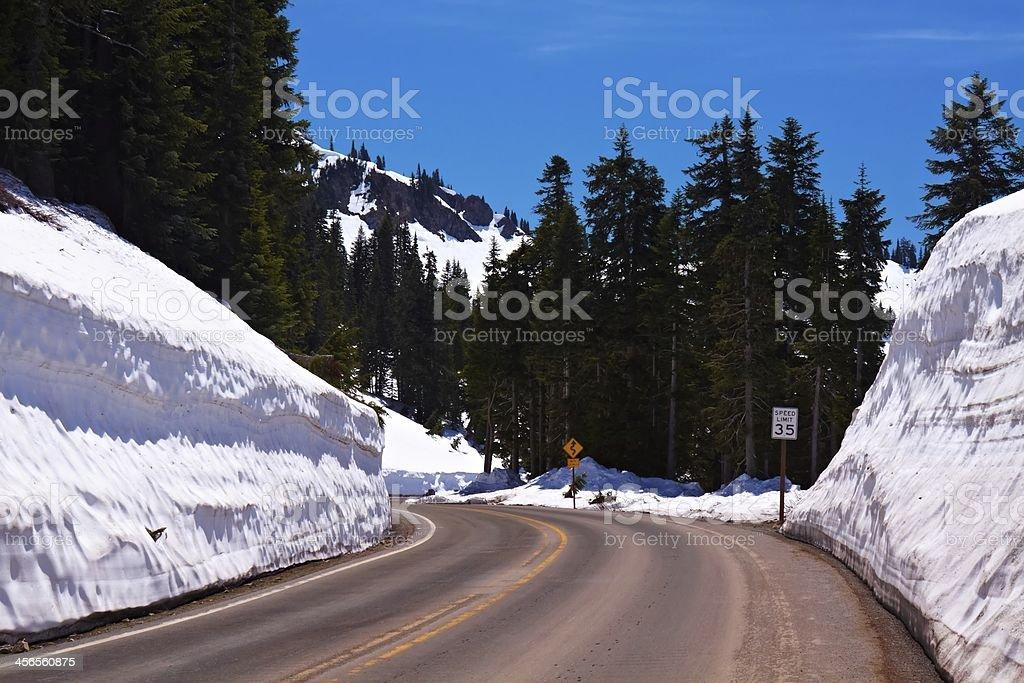 Winter Winding Road stock photo