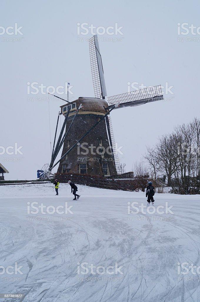 Winter windmill stock photo