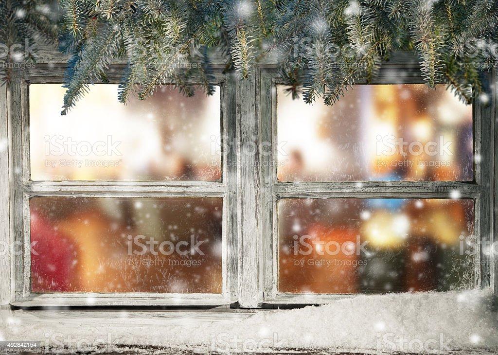 Winter window view stock photo