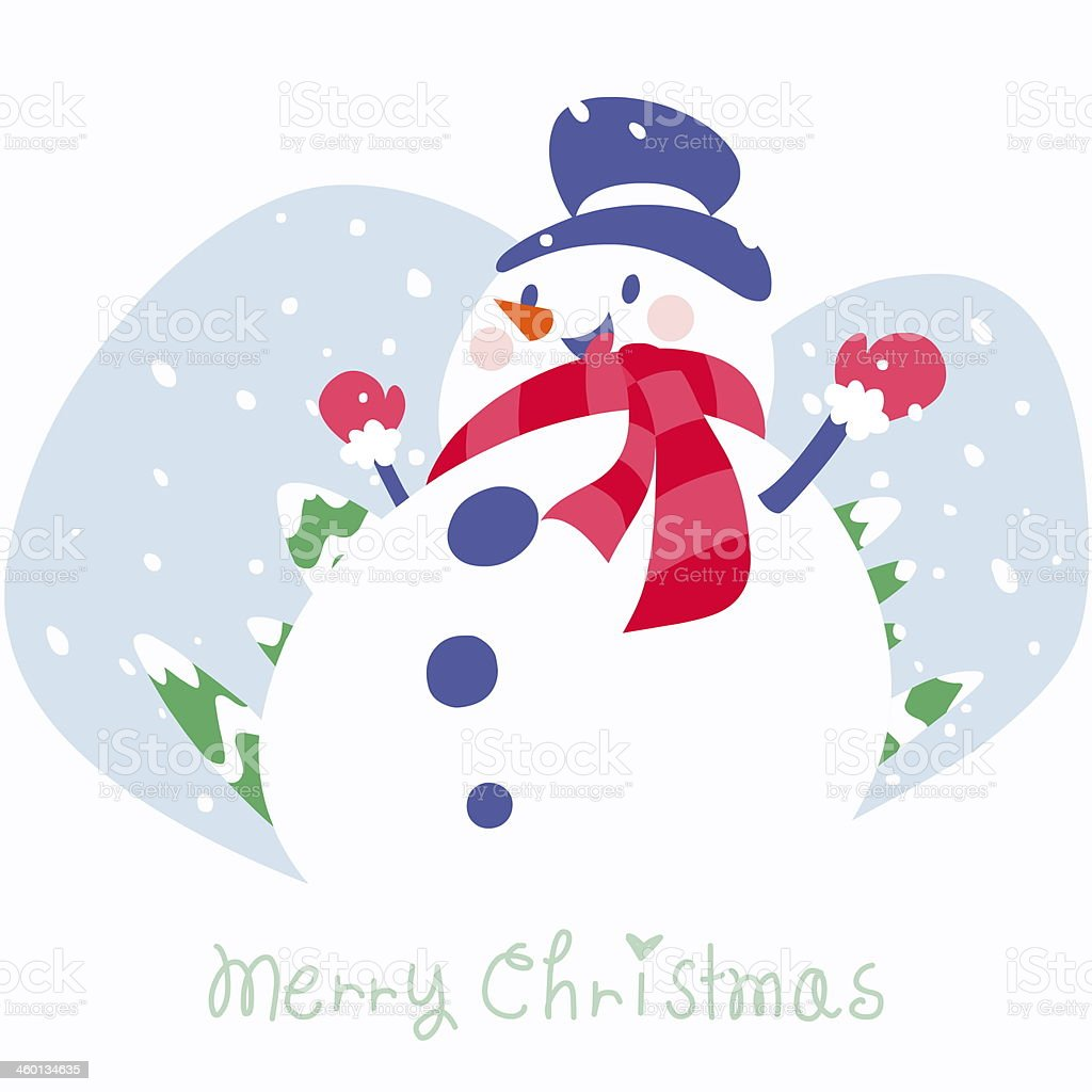 winter wishes card with snowman stock photo
