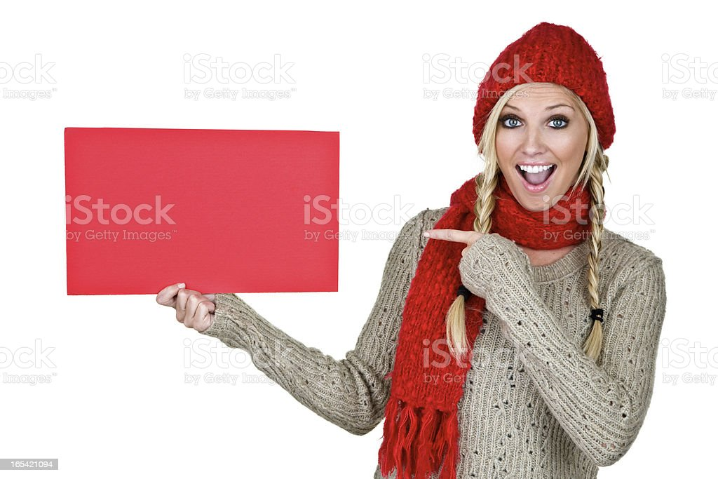 Winter woman copy space board royalty-free stock photo