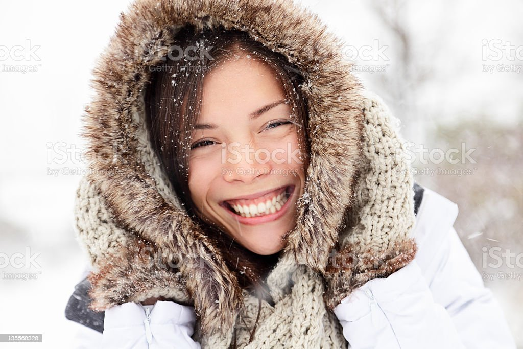 Winter woman happy outside royalty-free stock photo