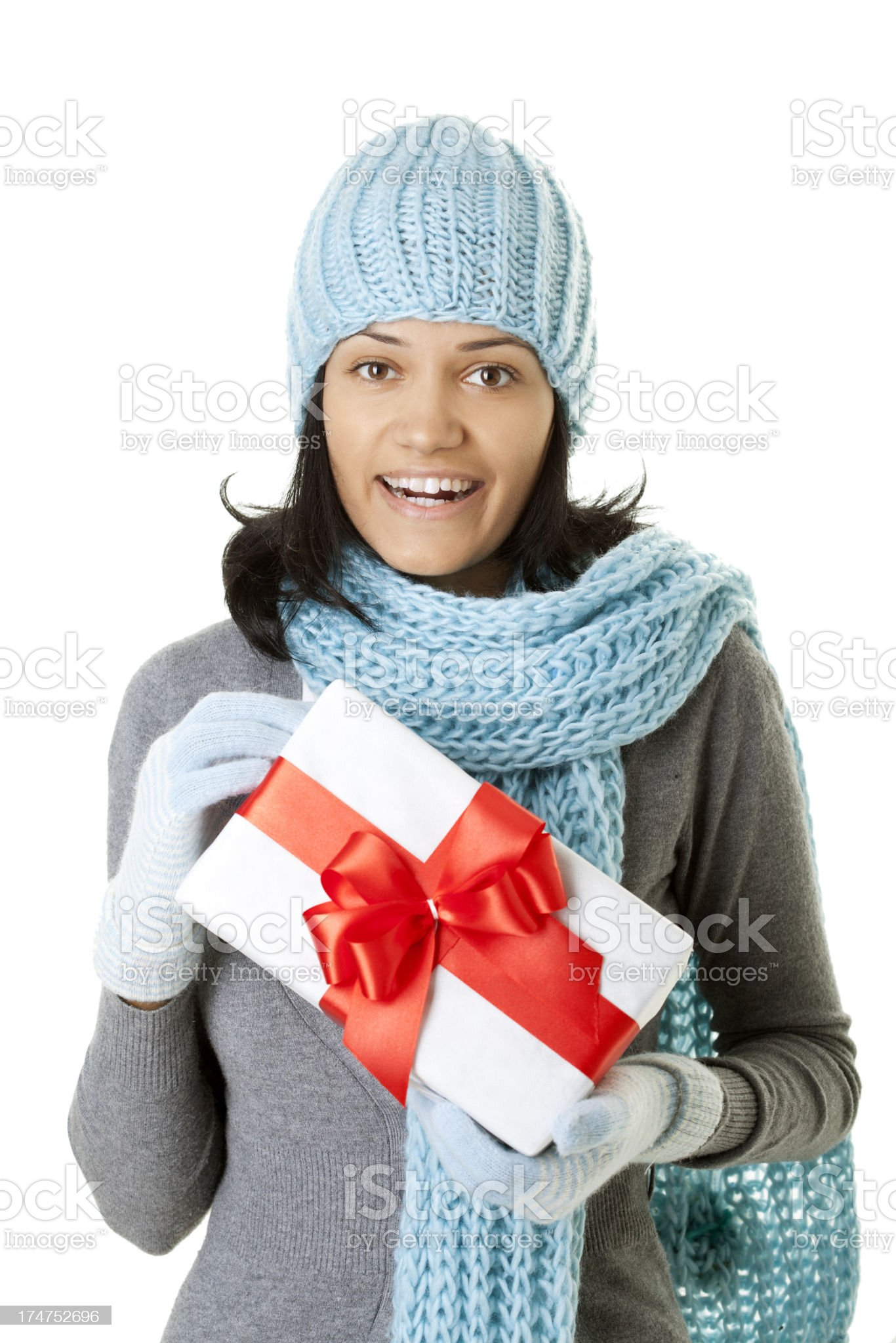 winter woman holding present royalty-free stock photo
