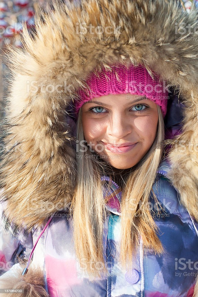 Winter woman in park royalty-free stock photo