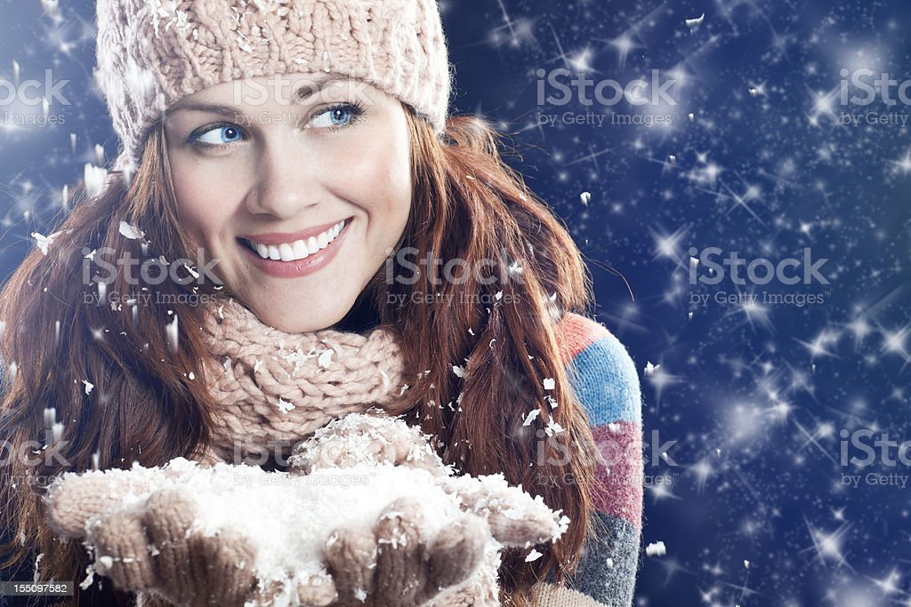 Winter woman looking away royalty-free stock photo