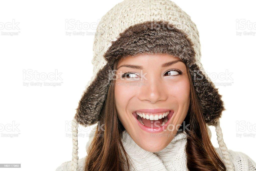 Winter woman looking sideways happy royalty-free stock photo