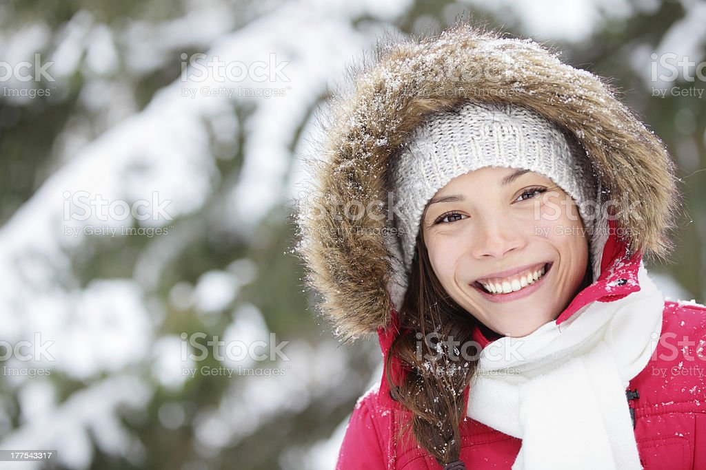 Winter woman portrait outdoors royalty-free stock photo