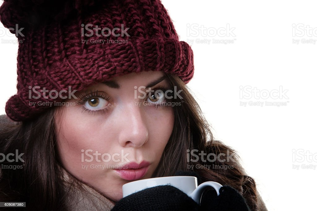 winter woman with hot drink stock photo