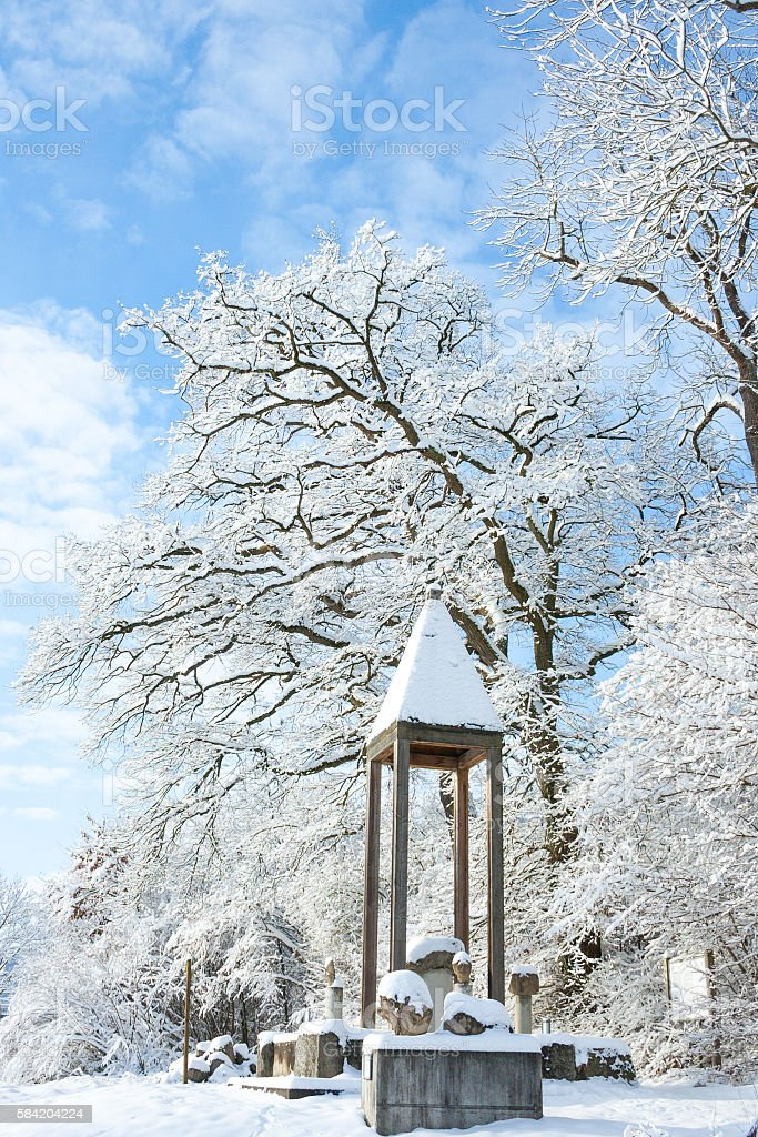 winter wonder land - monument in the snow stock photo