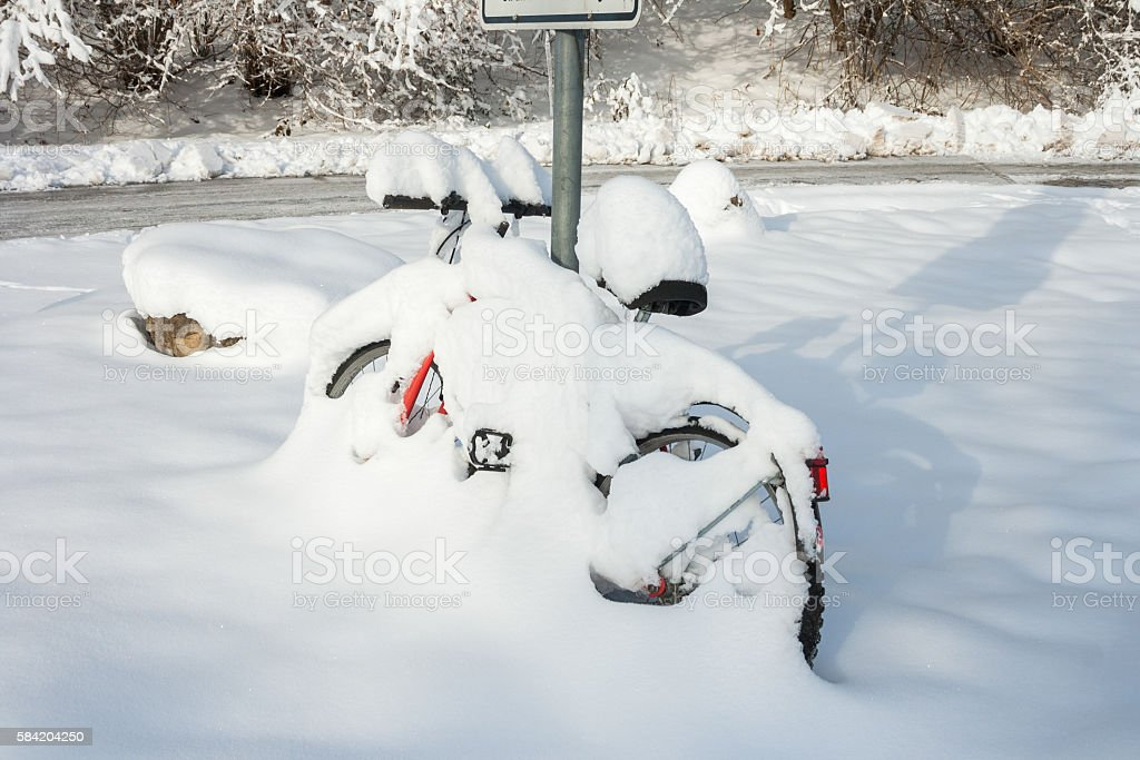 winter wonder land - snow bicycle stock photo