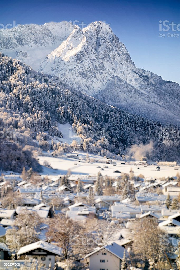 Winter Wonderland Garmisch-Partenkirchen with Mountain Zugspitze stock photo