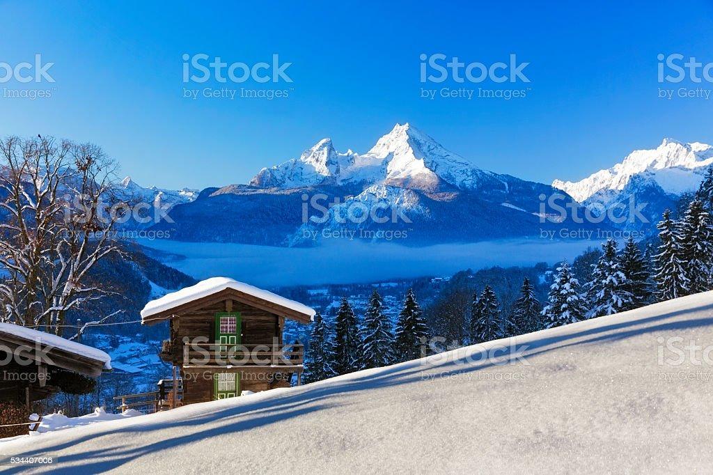 Winter wonderland im Watzmann Land stock photo