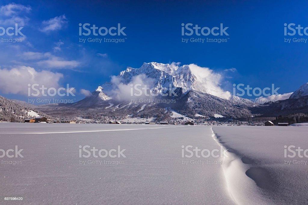 Winter wonderland in front of Mount Zugspitze stock photo