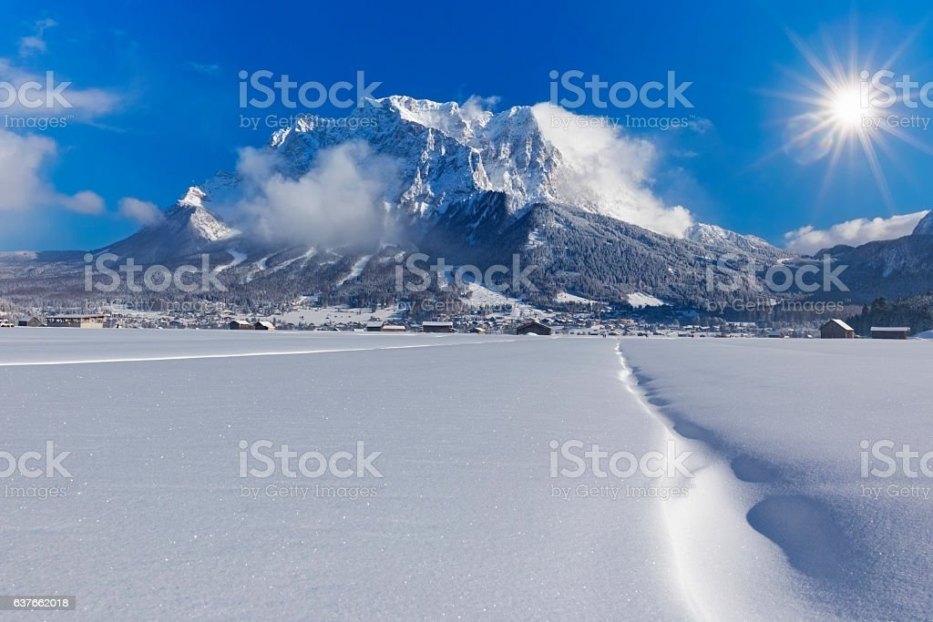 Winter wonderland in front of Mount Zugspitze stock photo