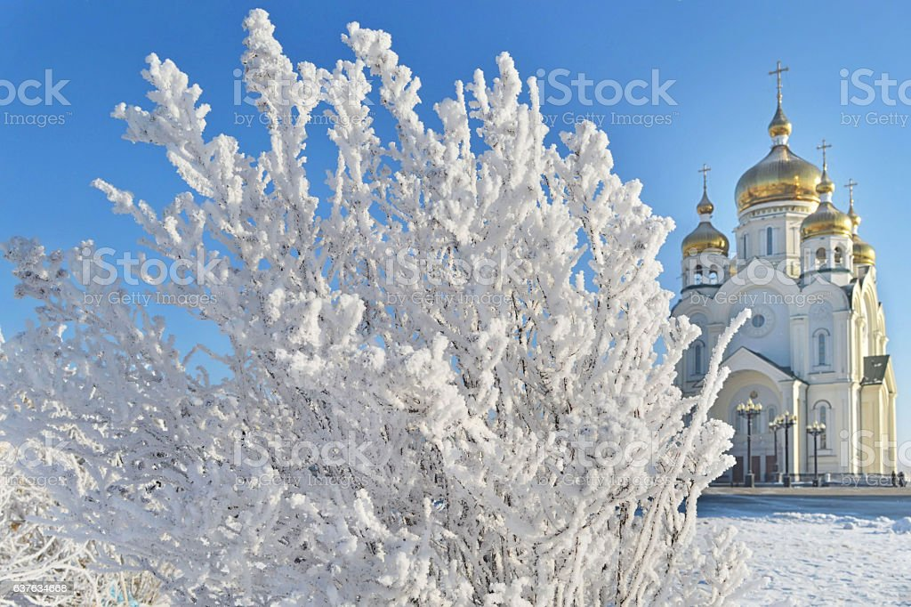 Winter wonderland in Khabarovsk. Far East, Russia stock photo