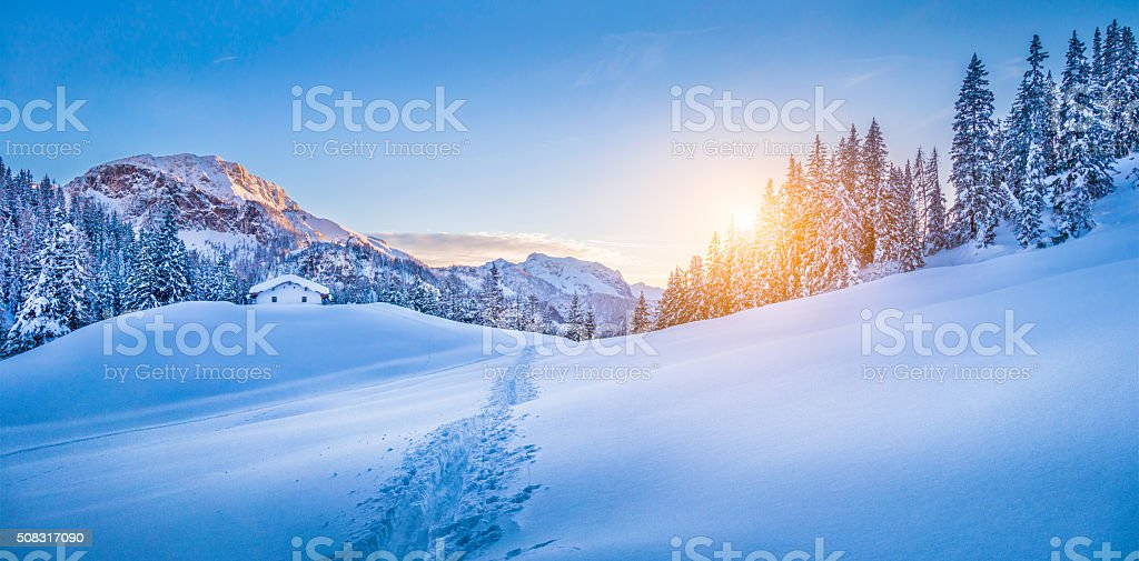 Panoramic view of beautiful winter wonderland mountain scenery with...