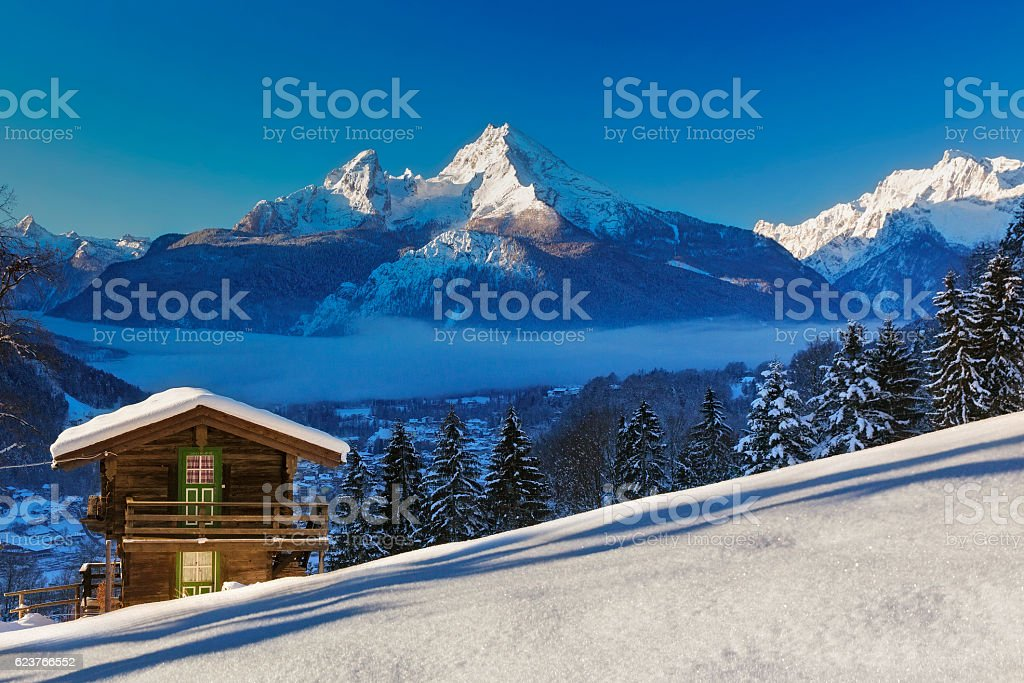Winter wonderland im Watzmann Land stock photo