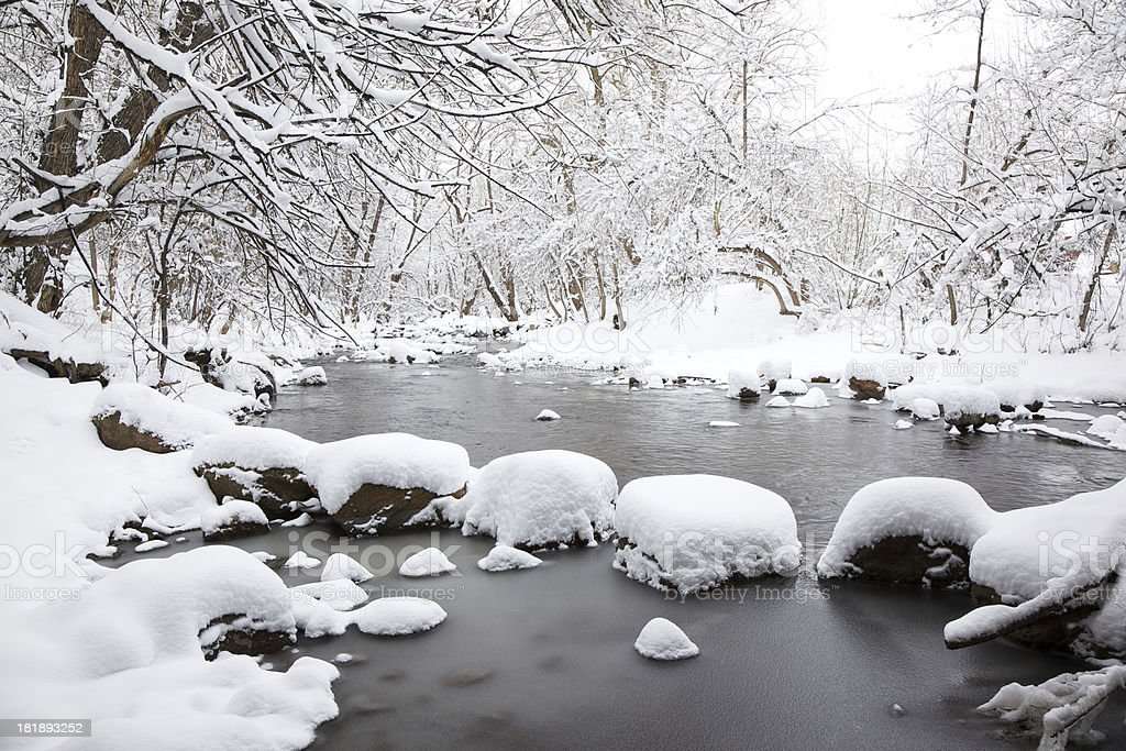 Winter Wonderland Snowy River royalty-free stock photo
