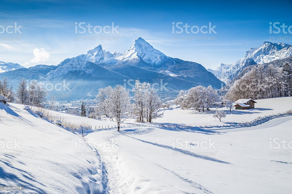 Winter wonderland with trail in the Alps stock photo