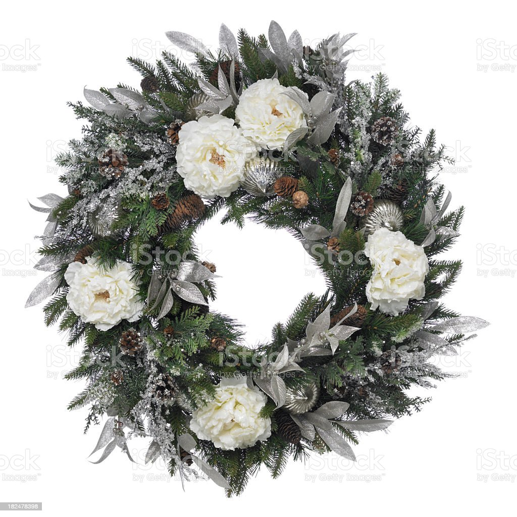 Winter Wreath with peonies on a white background stock photo