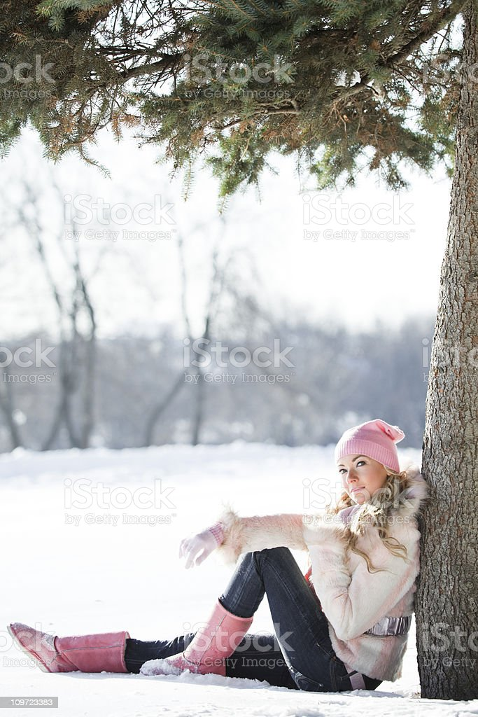 winter young blonde woman royalty-free stock photo