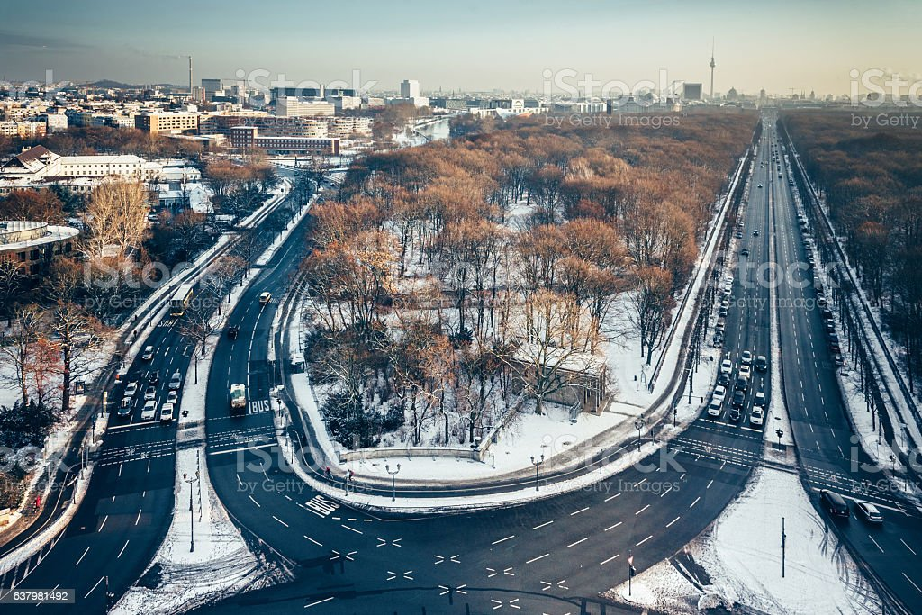 winterly aerial view on Berlin with main traffic lines stock photo