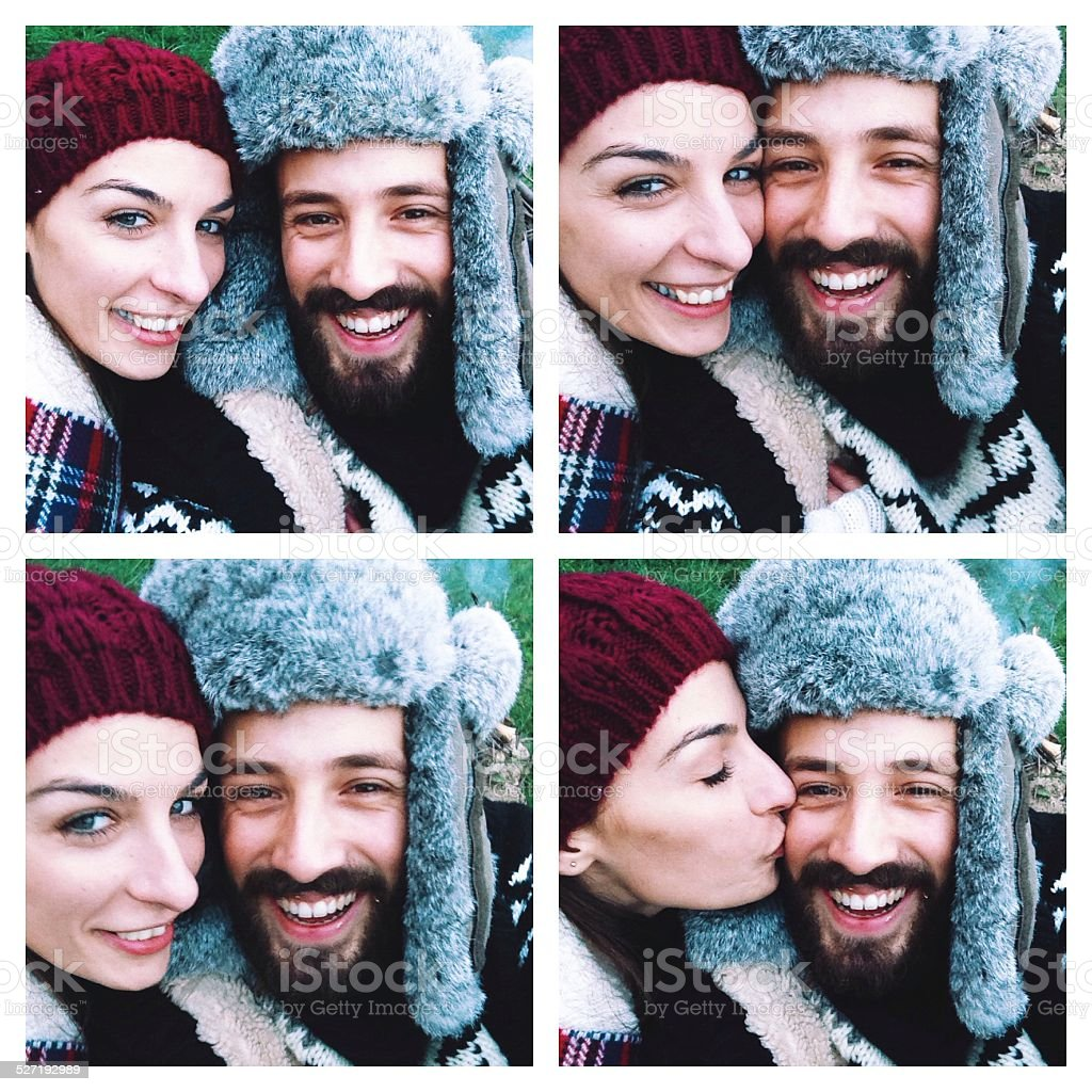 Winterly Collage of a cute smiling couple stock photo