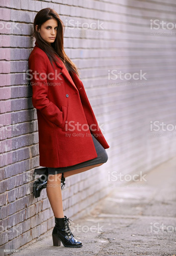 Winter-ready in red stock photo