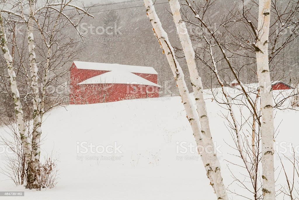 Winter's Day at the Round Barn stock photo