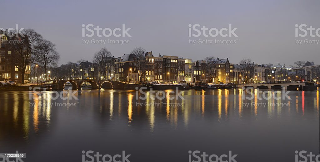 Winters evening in Amsterdam. stock photo