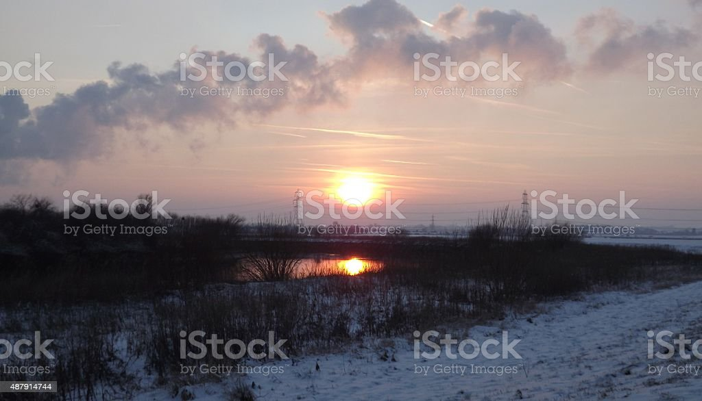 Winters sunset over the River Trent stock photo